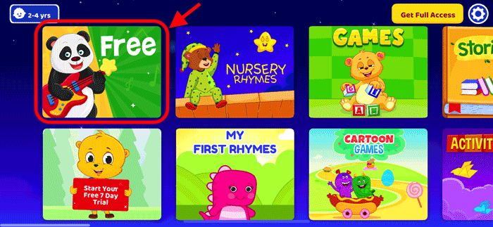 KindloLandのコンテンツ選択画面でFREEを選ぶの説明画像