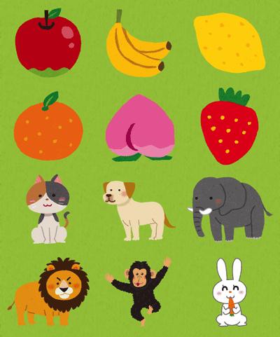 果物や動物の英単語が学べるの説明画像