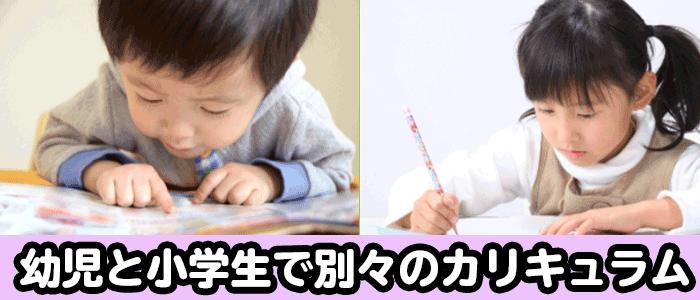 ワールドアイキッズの幼児と小学生で別々のカリキュラムの説明画像