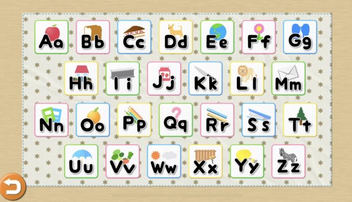 子供向けの英語単語アプリ「きいて!さわって!ABC完全版」のABCworldの画面