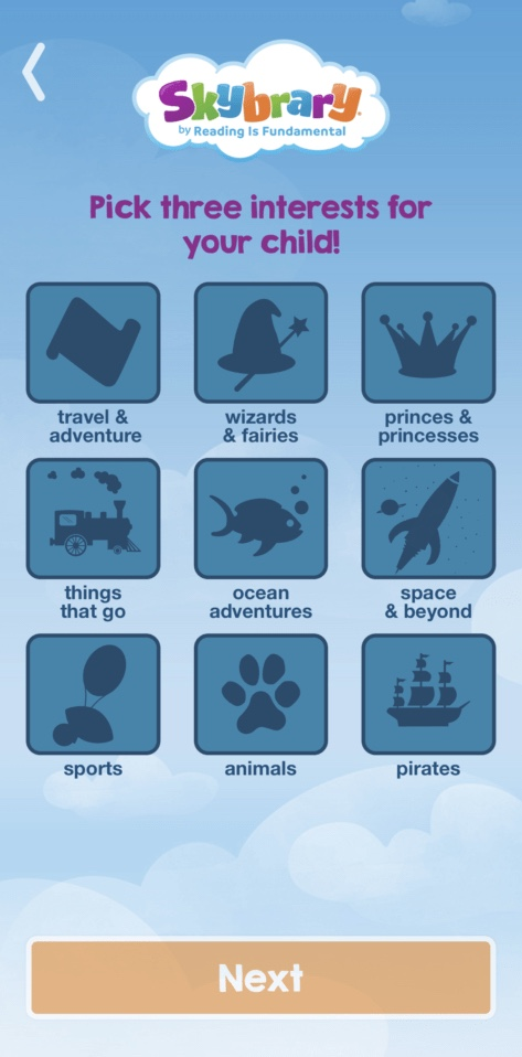 子供向けの英語多読アプリ「Skybrary」の興味のあるジャンルを選ぶ時の画像