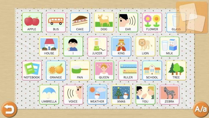 子供向けの英語単語アプリ「きいて!さわって!ABC完全版」のFind the Pairモードの画面