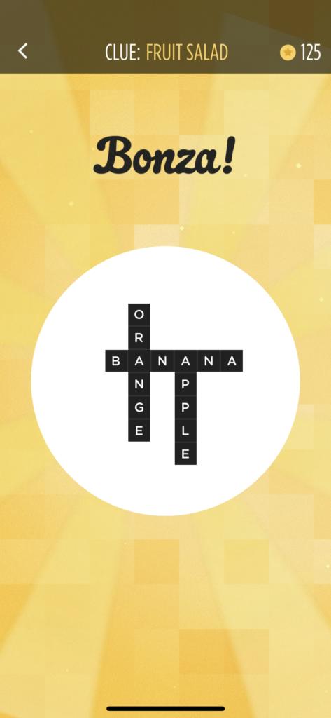 子供向けの英語単語アプリ「Bonza Word Puzzle」のBANANAができた画面