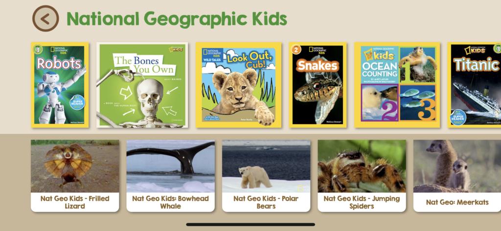 子供向けの英語多読アプリ「Skybrary」のナショナルジオグラフィックの一覧画像