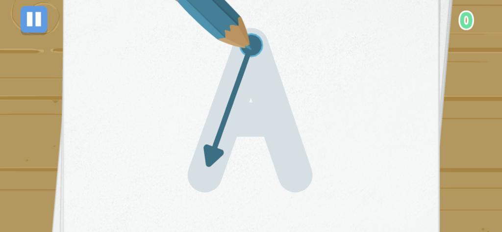 子供向け有料英語アプリのオススメ「Fun English」のAを書く練習をしている画像