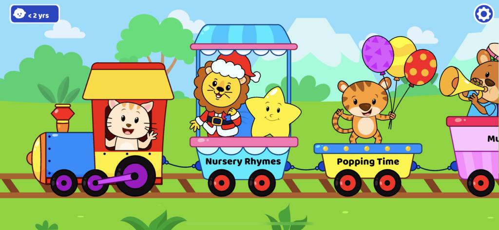 子供向け有料英語アプリのオススメ「KidloLand」の子供の年齢を2歳以下にした時のホーム画面の画像
