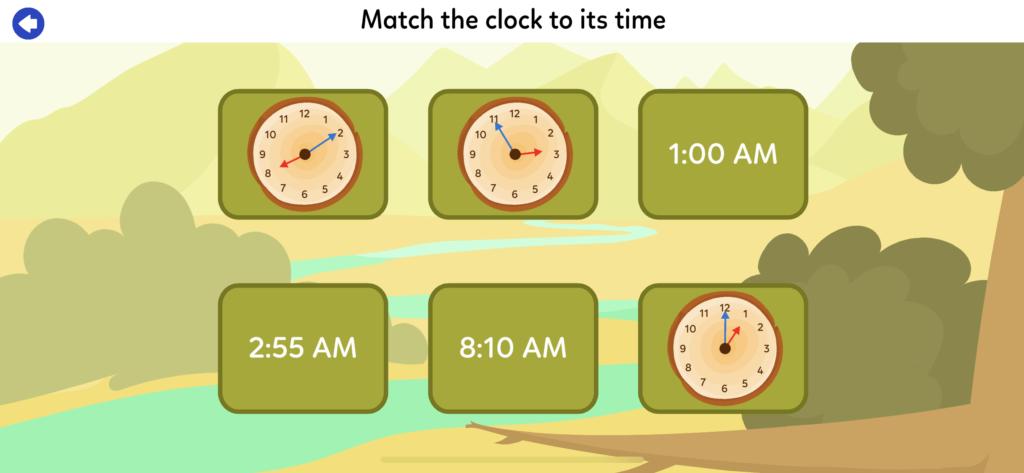 子供向け有料英語アプリのオススメ「KidloLand」の時計の読み方のレッスンの画像