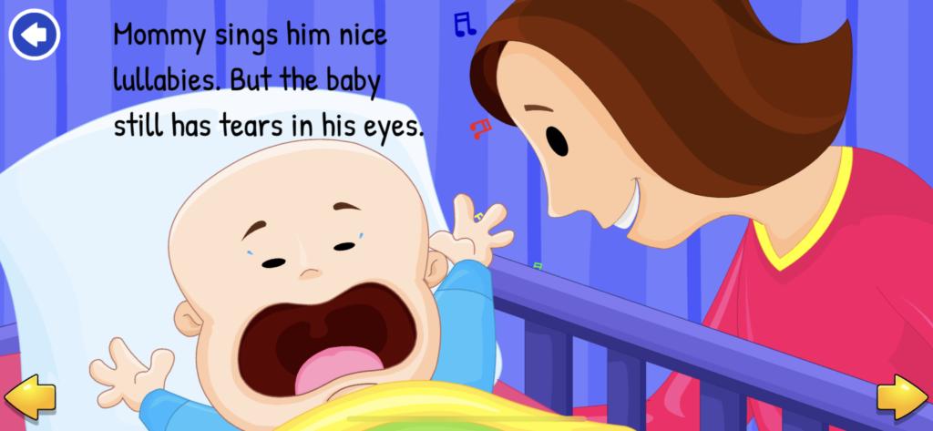子供向け英語リーディングアプリ『KidloLand』のインタラクティブ絵本の背景をタップした後の画像
