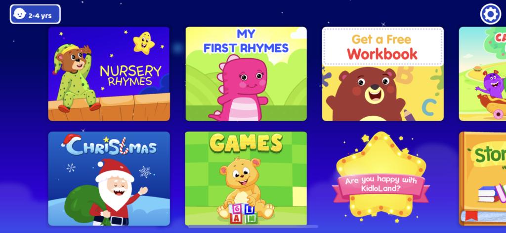 子供向け英語リーディングアプリ『KidloLand』のホーム画面の画像
