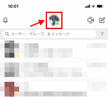 スカイプのユーザーアイコンをタップするの説明画像