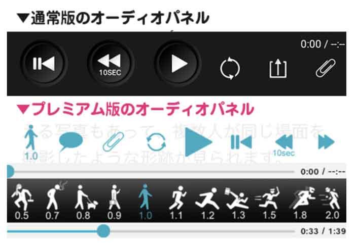 StudyNow無料と有料の音声再生機能の違いを説明している画像